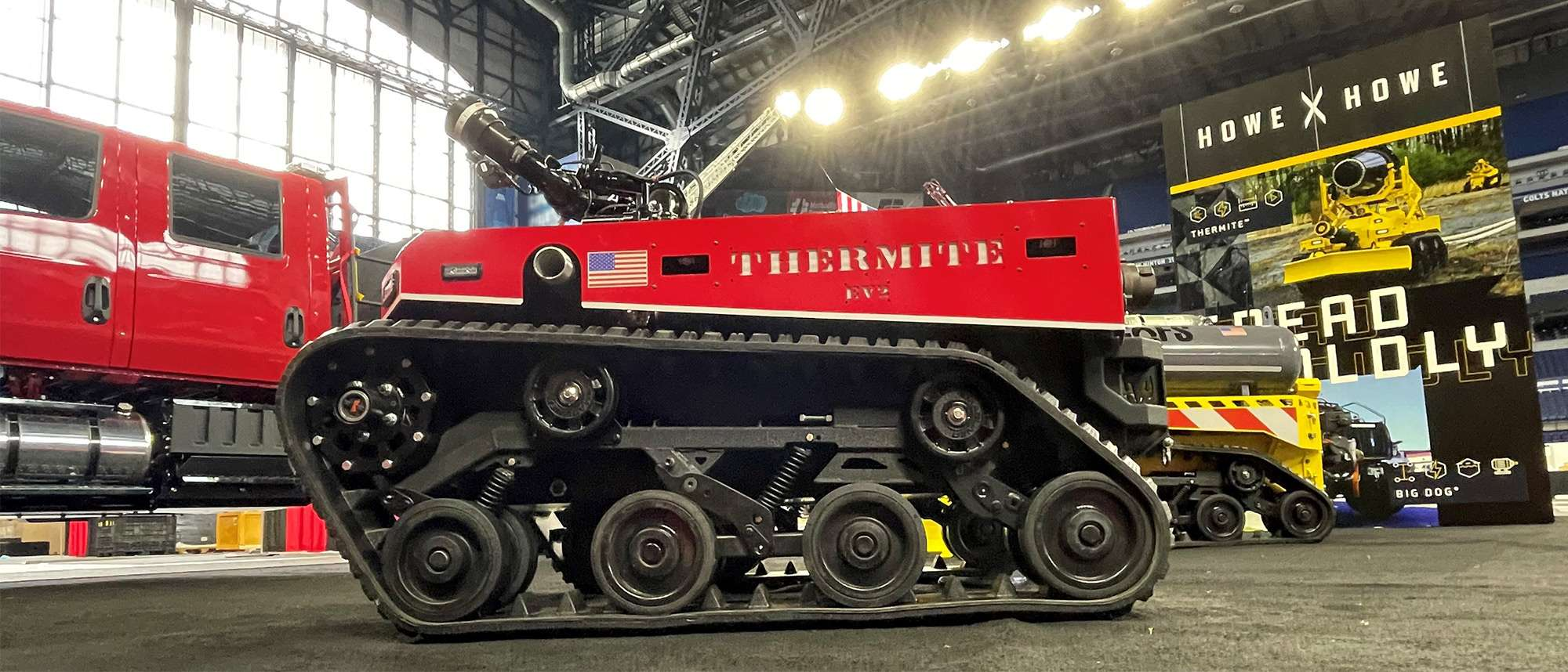 Thermite EV2 at FDIC Tradeshow with Howe & Howe banner and Thermite RS1 in the background
